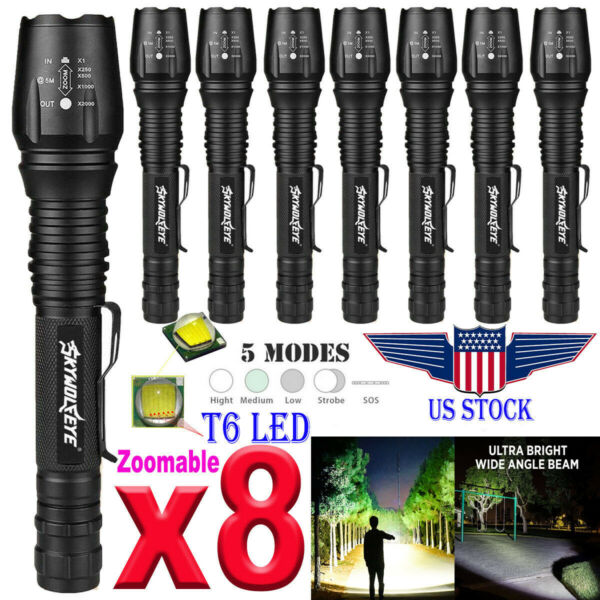 8PCS Tactical 350000LM Zoomable LED T6 High Power Flashlight 186*50 LED Torch US