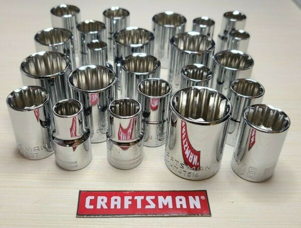 New Craftsman 12pt Sockets Metric or SAE 1 2quot; Drive Standard Length