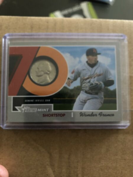 2019 Topps Heritage Minor WANDER FRANCO 1970 Mint Coin Nickel Relic 99 Rays