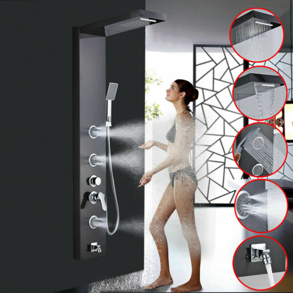 Black Stainless Steel Shower Panel Tower Rainfall Waterfall Massage Jets Sprayer