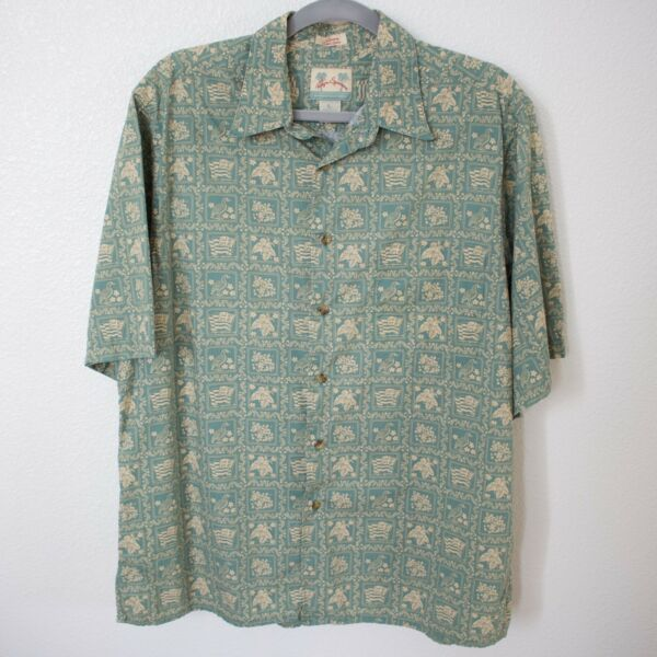 REYN SPOONER Hawaiian State Flag Short Sleeve Button Up Shirt Large