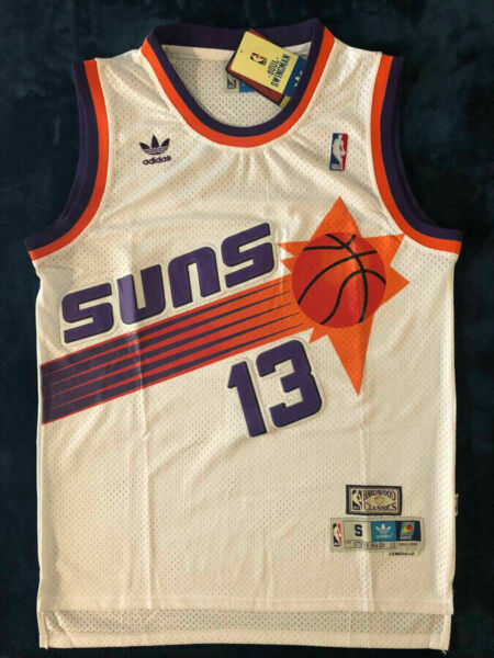 #13 Steve Nash Phoenix Suns MEN'S Swingman Throwback Sewn WHITE Jersey