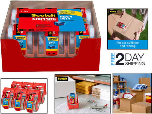 6 Pack Packaging Box Tape Roll With Dispenser Heavy Duty Durable for Shipping $20.36