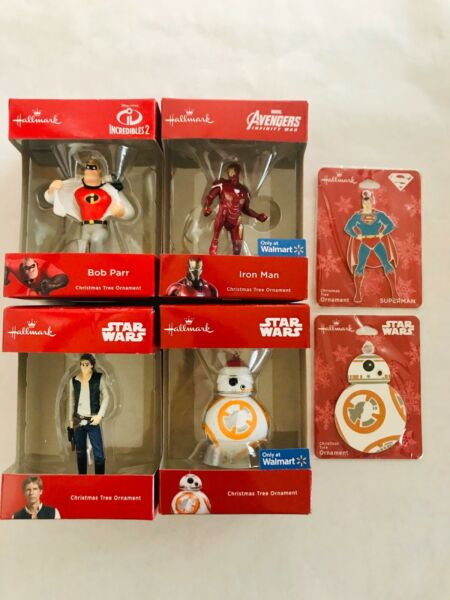 Lot of 6 Hallmark Christmas Tree Ornaments New Star Wars Avengers Superman +More