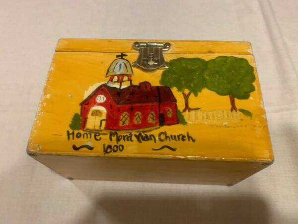 Vintage wooden box purse hand painted pocketbook made in HONG KONG USED