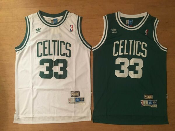 Larry Bird #33 Boston Celtics Men's GREENWhite Stitched Throwback Jersey