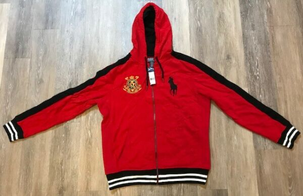 Polo Ralph Lauren Snow Challenge Cup Red Hoodie Big Pony L MSRP $145 NEW NWT