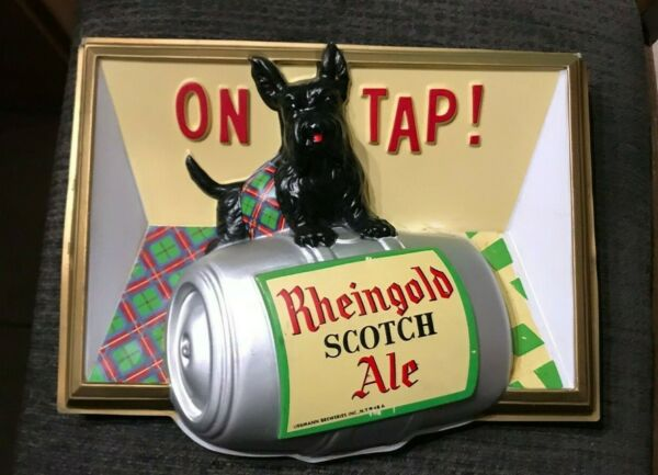 VINTAGE RHEINGOLD SCOTCH ALE SCOTTIE DOG SCOTTISH TERRIER VACUFORM BEER SIGN