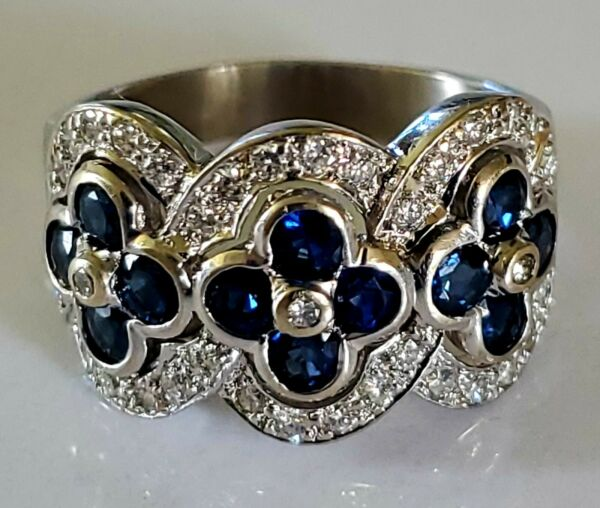 18kt Gold Diamond Covered Sapphire Celtic Knot Endless Love Ring OOAK Signed GIA