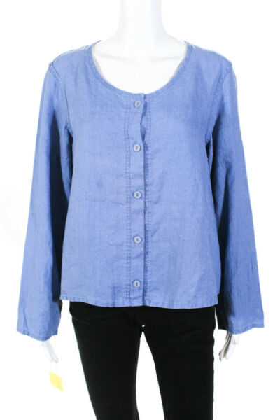 Flax Womens Linen Button Down Long Sleeve Blouse Blue Size Large $29.99