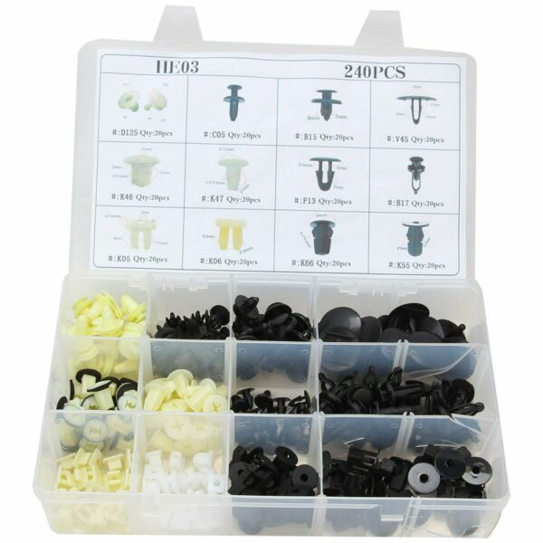 Plastic 240pcs Rivets Fastener Fender Bumper Push Screw Pin Clip Trim Assortment