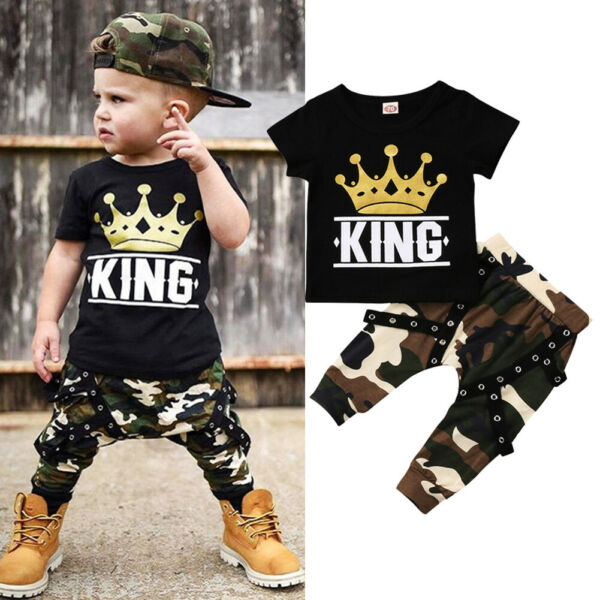 Newborn Kids Baby Boys Summer Clothes T-shirt Top Camo Pants Outfits Set 2PCS
