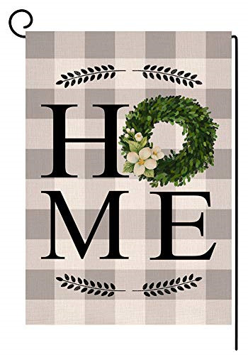 Spring Home Boxwood Small Garden Flag Vertical Double Sided Burlap Yard Outdoor