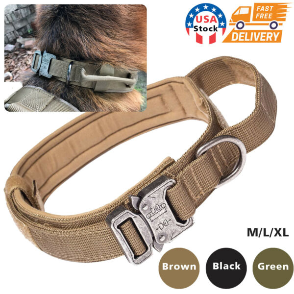 Heavy Duty Tactical Dog Collar for German Shepherd K9 Boxer Large Dogs Training $14.99
