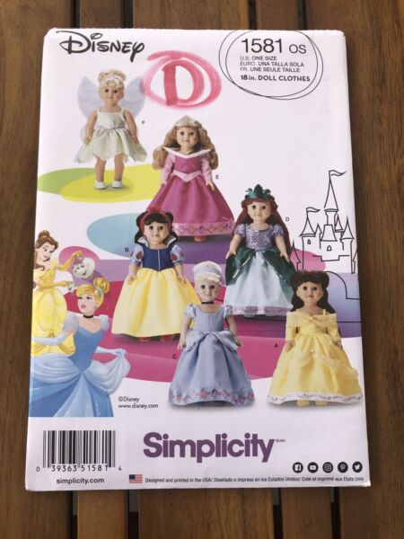 Simplicity Pattern 1581 Disney Princess Costumes For 18 Inch Dolls outfits $8.00