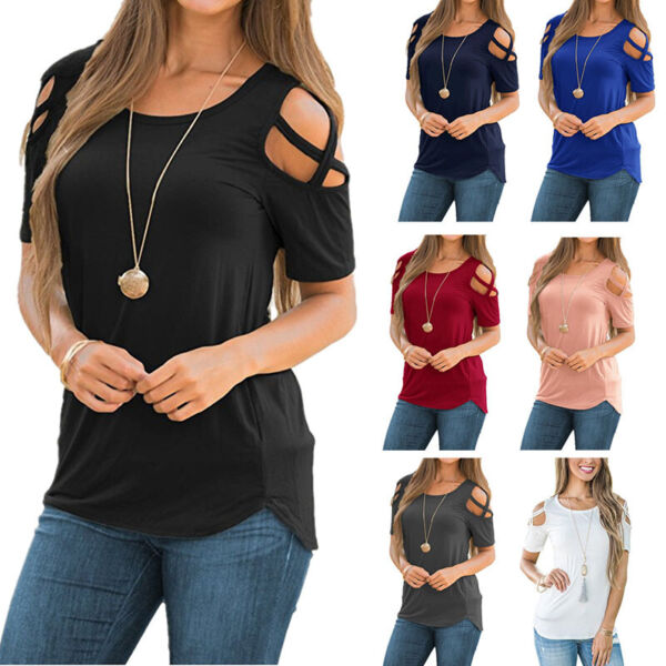 Womens Summer Cold Shoulder Solid Top Tunic Short Sleeve Blouse Casual T-Shirt $13.64
