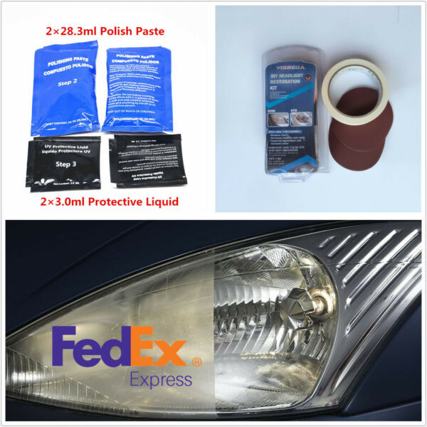 Car Headlamp Lens Blur Scratch Oxidation Removal Clean Polishing Restoration Kit