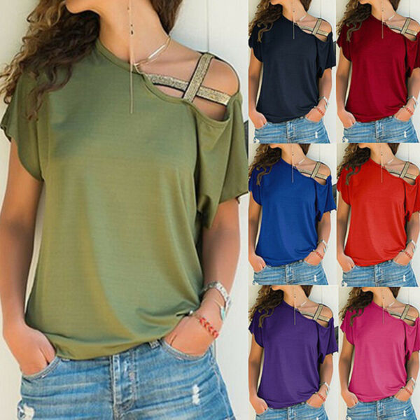Summer Women Short Sleeve Size Plus T Shirt  Solid Loose Casual Blouse Tops $13.43