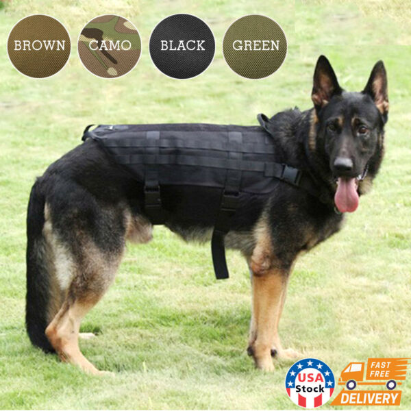 Military Tactical Training K9 Police Dogs Harness 600D Nylon Molle Vest S M L XL $16.99