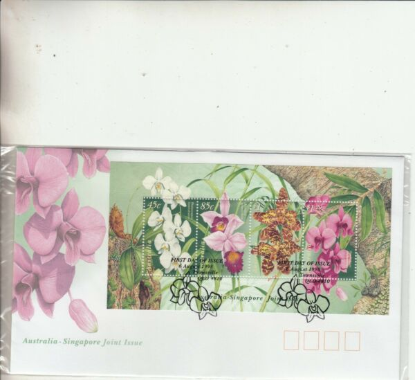 1998 Orchids Miniature sheet First Day Cover. Cost $3.80. Ret $7.00. Going Cheap AU $1.49