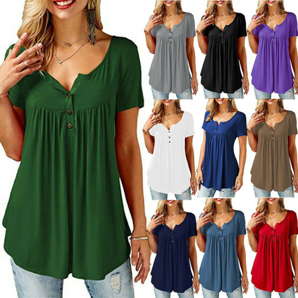 Women Summer Short Sleeve Blouse Solid Plus Size T Shirt Casual Loose Tunic Tops $13.99
