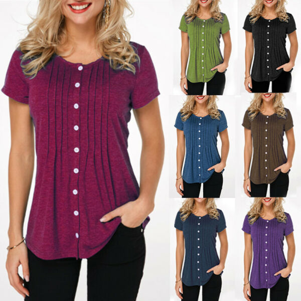 Womens Short Sleeve Button Down Shirts Tunic Tops Plus Size Solid T Shirt Blouse $11.13
