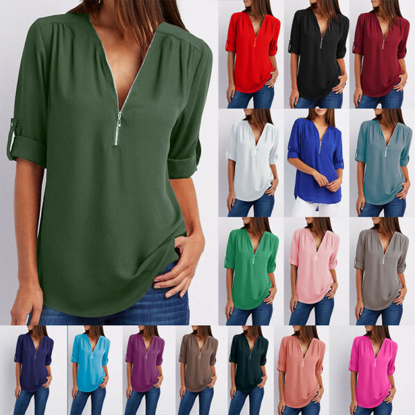 Summer Women T Shirt V-Neck Zipper Loose Casual Blouse Long Sleeve Tops $8.09