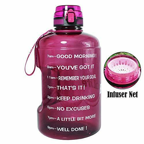 BuildLife Gallon Motivational Water Bottle Wide Mouth with Time MarkerFlip Top