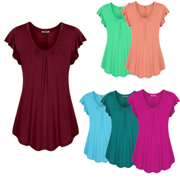 Women's Summer Short Sleeve Blouse T Shirt Tops Casual Loose Tunic Tee Plus Size $14.69