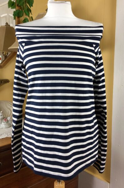 J.Crew Factory NWT Striped Off The Shoulder Blue White Nautical Top Large G3762 $10.00