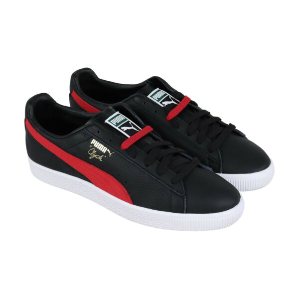 Puma Clyde Core 36929304 Mens Black Leather Classic Low Top Sneakers Shoes 10