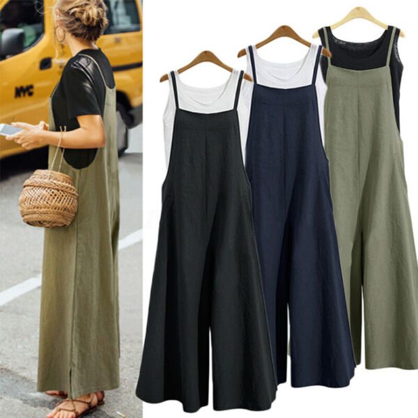 Women Sleeveless Linen Loose Jumpsuit Overall Trousers Wide Leg Pant Plus Size