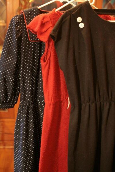 Lot of 3 Vintage Dresses S M Altered Black Red Polka Dot Navy Sailor cutout