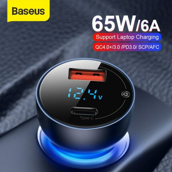 Baseus 65W USB Type C In Car Car Cigarette Charger Fast Charging Lighter Adapter $12.99