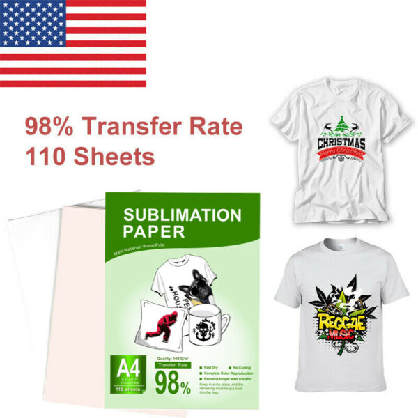 110 Sheets A4 Heat Sublimation Paper Transfer Paper for Inkjet T Shirts Mugs US $14.73