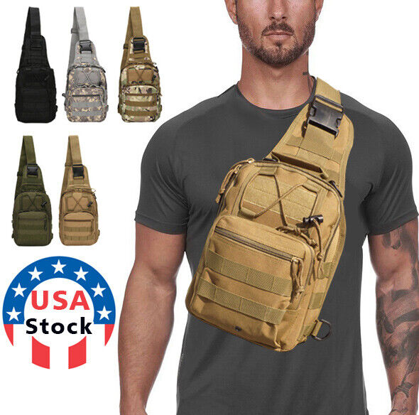 Men Backpack Molle Tactical Sling Chest Pack Shoulder Bag Outdoor Hiking Travel $13.28