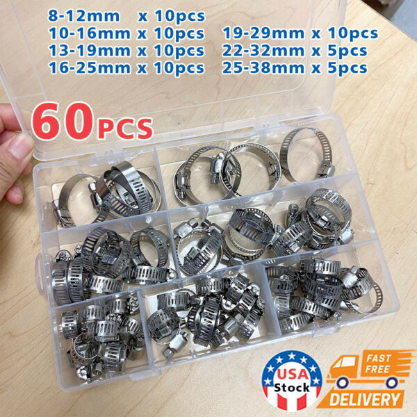 US 60 Pieces Adjustable Hose Clamps Worm Gear Stainless Steel Clamp Assortment