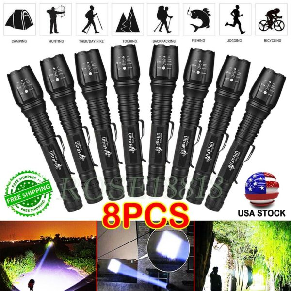 US 8PCS 350000LM Tactical Zoomable LED T6 High Power Flashlight 186*50 LED Torch