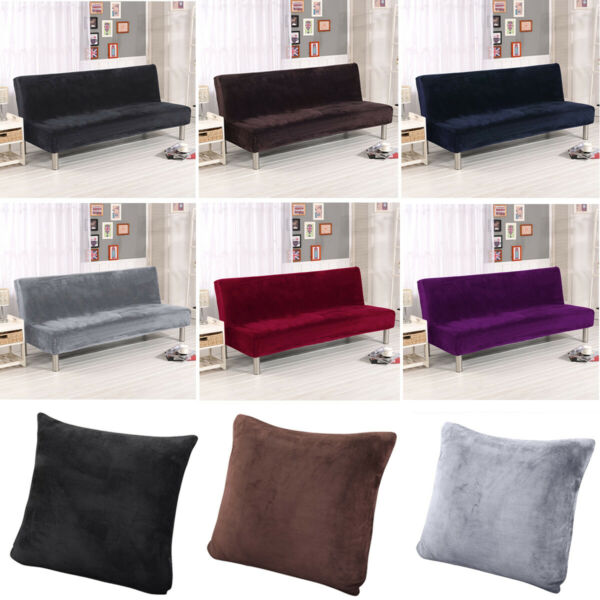 NEW Armless Futon Cover Sofa Bed Cover Full Size Thicker Plush Sofa Slipcover US $25.99