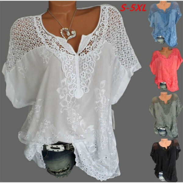Women Summer Casual Short Sleeve T Shirt V Neck Tops Solid Loose Blouse