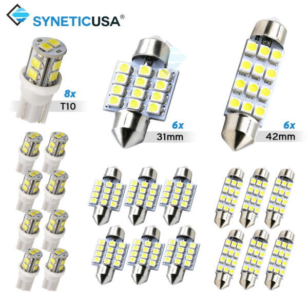 Syneticusa 20x Combo LED Car Interior Dome Map Door License Plate Lights White