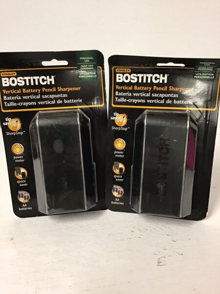Lot 2 Bostitch Vertical Home Office Battery Powered Pencil Sharpener BPS3VR BLK $24.25