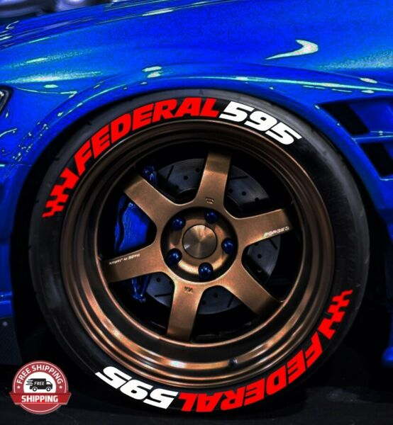 TIRE LETTERS 1.25quot; FEDERAL red 595 white W RED FLAGS 15quot; 22quot;