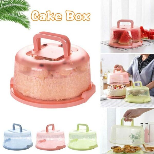 Handheld Plastic Round Cake Storage Box Cupcake Carrier Container Birthday Tool