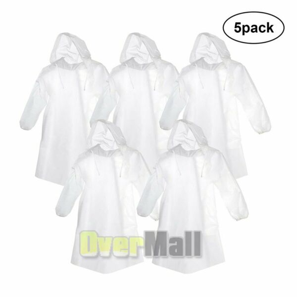 5x Adult Emergency Hooded Poncho Rain Coat Disposable Waterproof Protection Gown $14.97