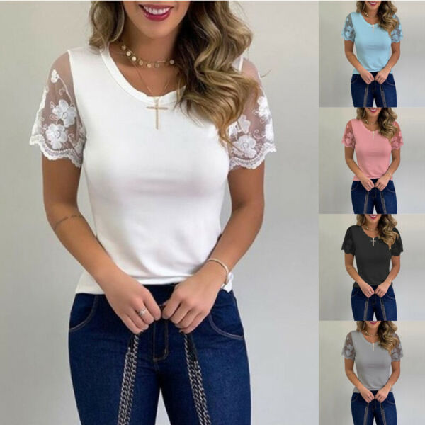 Women Summer Short Sleeve Crew Neck Casual T Shirt Lace Print Loose Tops Blouse $12.59