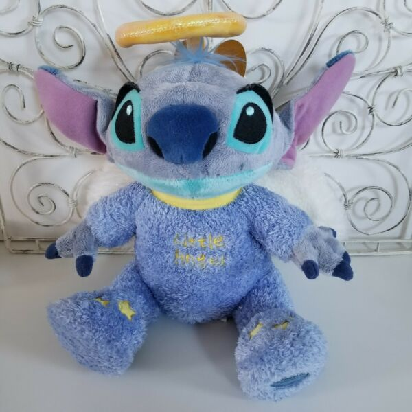 NEW DISNEY STORE EXCLUSIVE LILO AND STITCH LITTLE ANGEL PLUSH W WINGS HALO 12