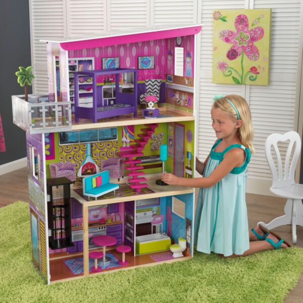 Barbie Dream House Size Dollhouse Furniture Girls Playhouse Townhouse 11 Pieces