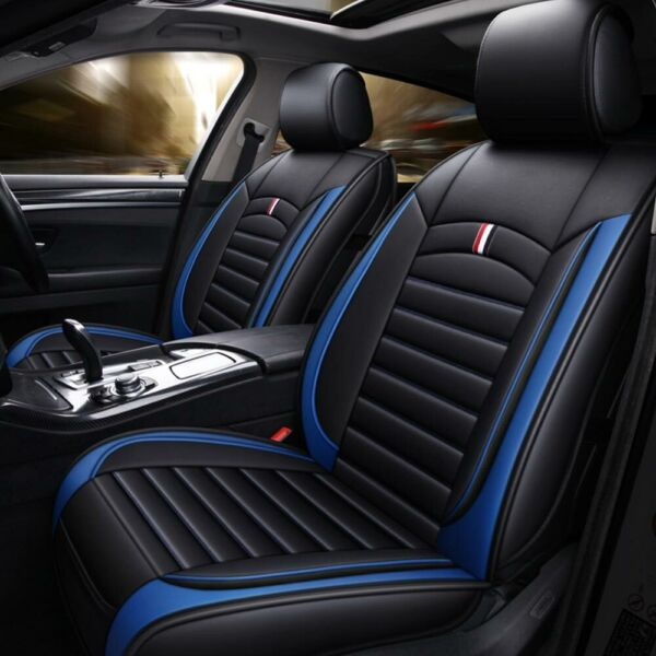 Luxury 5-Sit Car Seat Cover Cushion PU Leather Universal Front Rear Interior Set