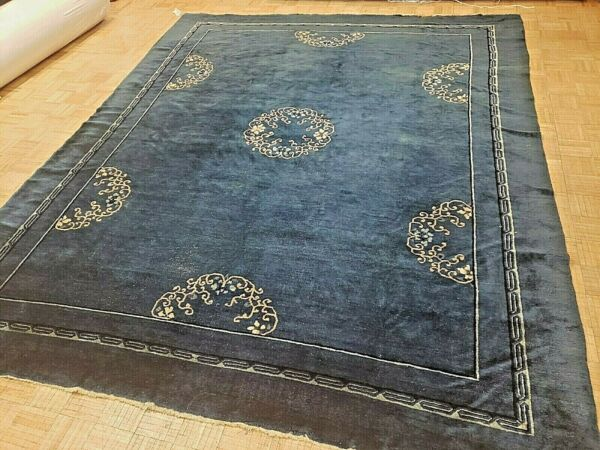 9x12 CHINESE RUG ANTIQUE CIRCA 1900 ART DECO AUTHENTIC 100% WOOL ORIENTAL RUG
